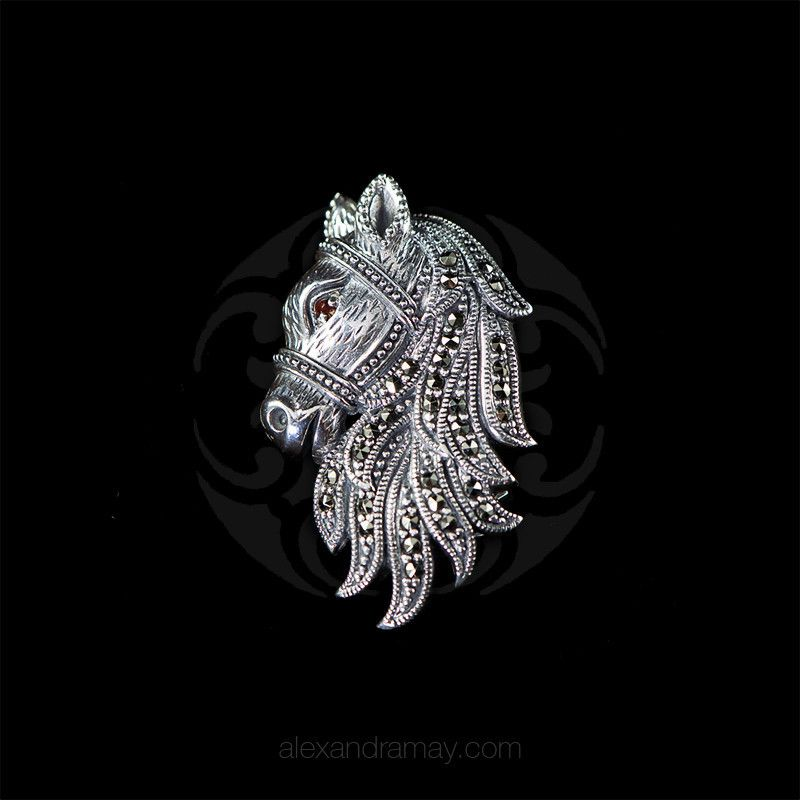 Luke Stockley Sterling Silver & Marcasite Horses Head Pendant Brooch ( | Alexandra May Jewellery
