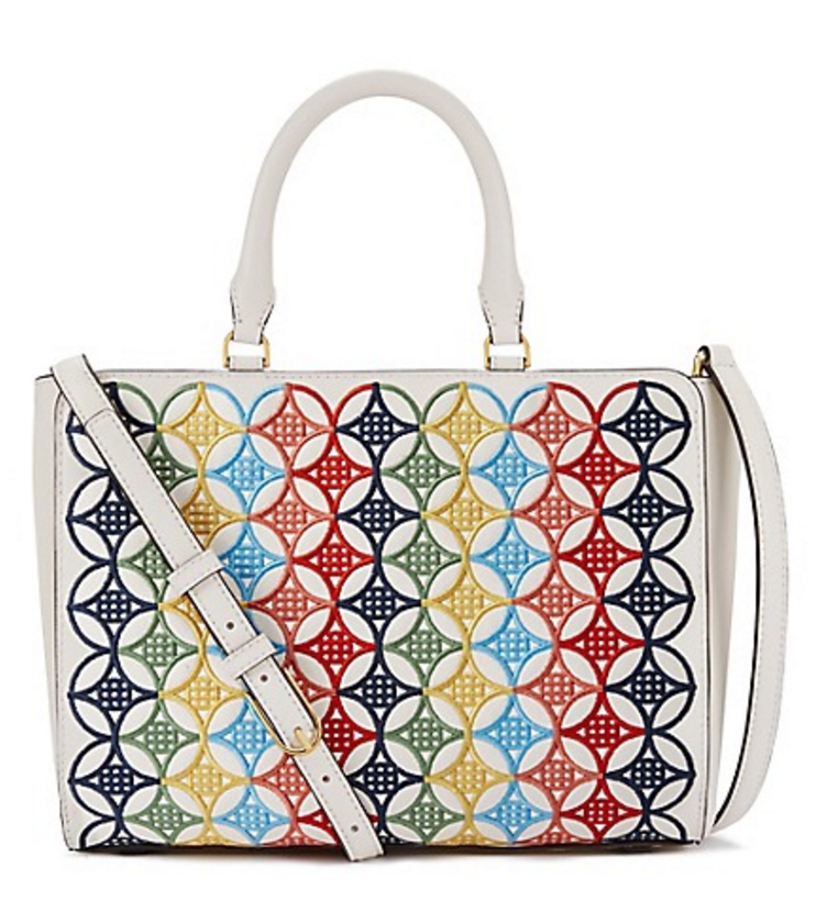 multicolor embroidered small zip tote