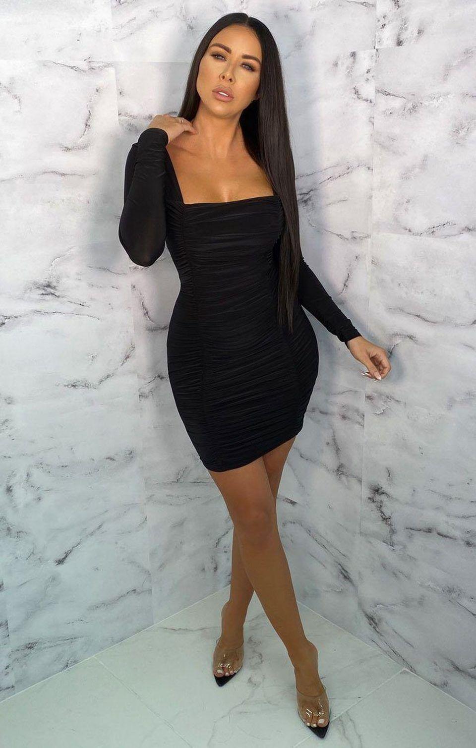 Black Square Neck Ruched Bodycon Mini Dress Gina Black Ruched Dress Black Dress Outfit Casual Mini Dress [ 1509 x 960 Pixel ]