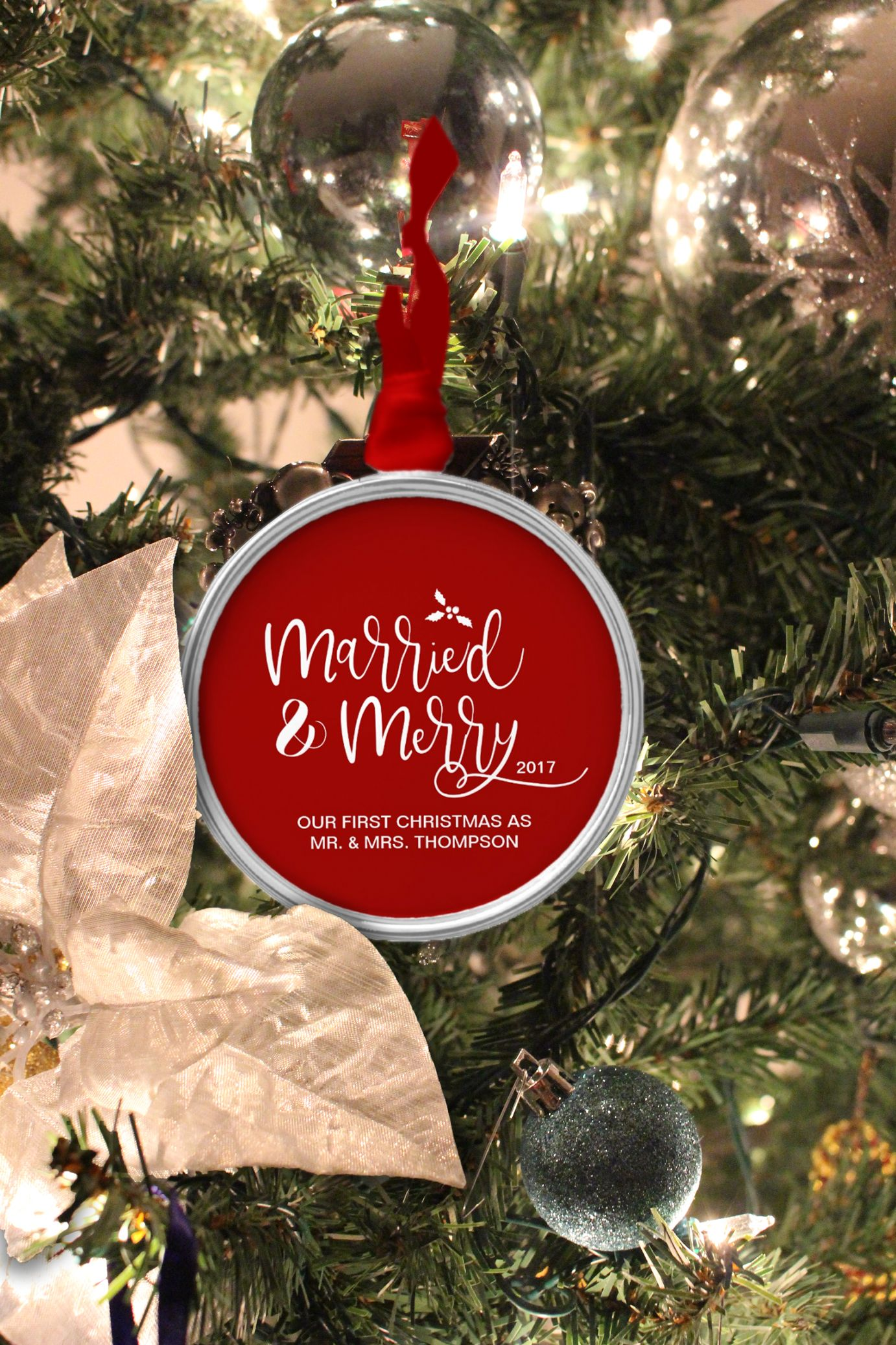 Married And Merry Newlyweds First Christmas Ornament