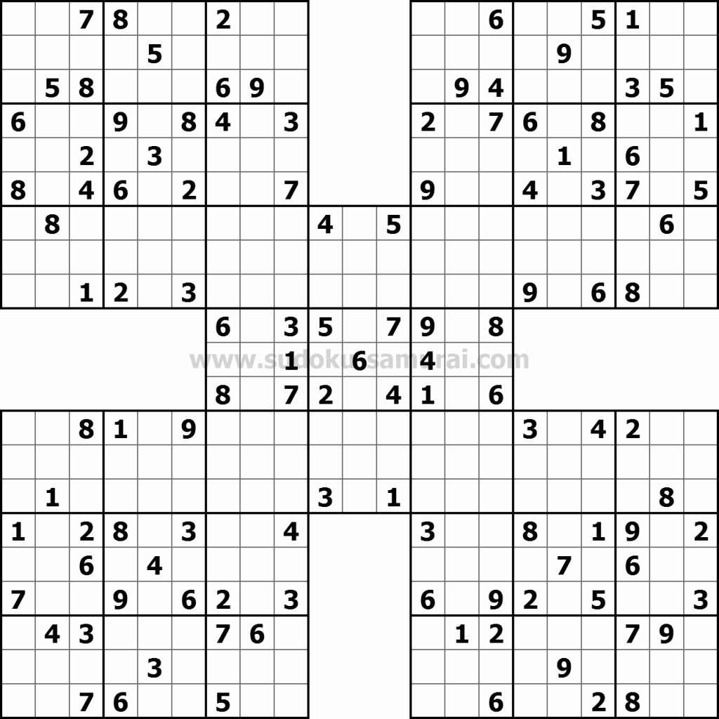 photo about Sudoku Samurai Printable identified as Samurai Sudoku Puzzles Sudoku puzzles, Brain puzzles
