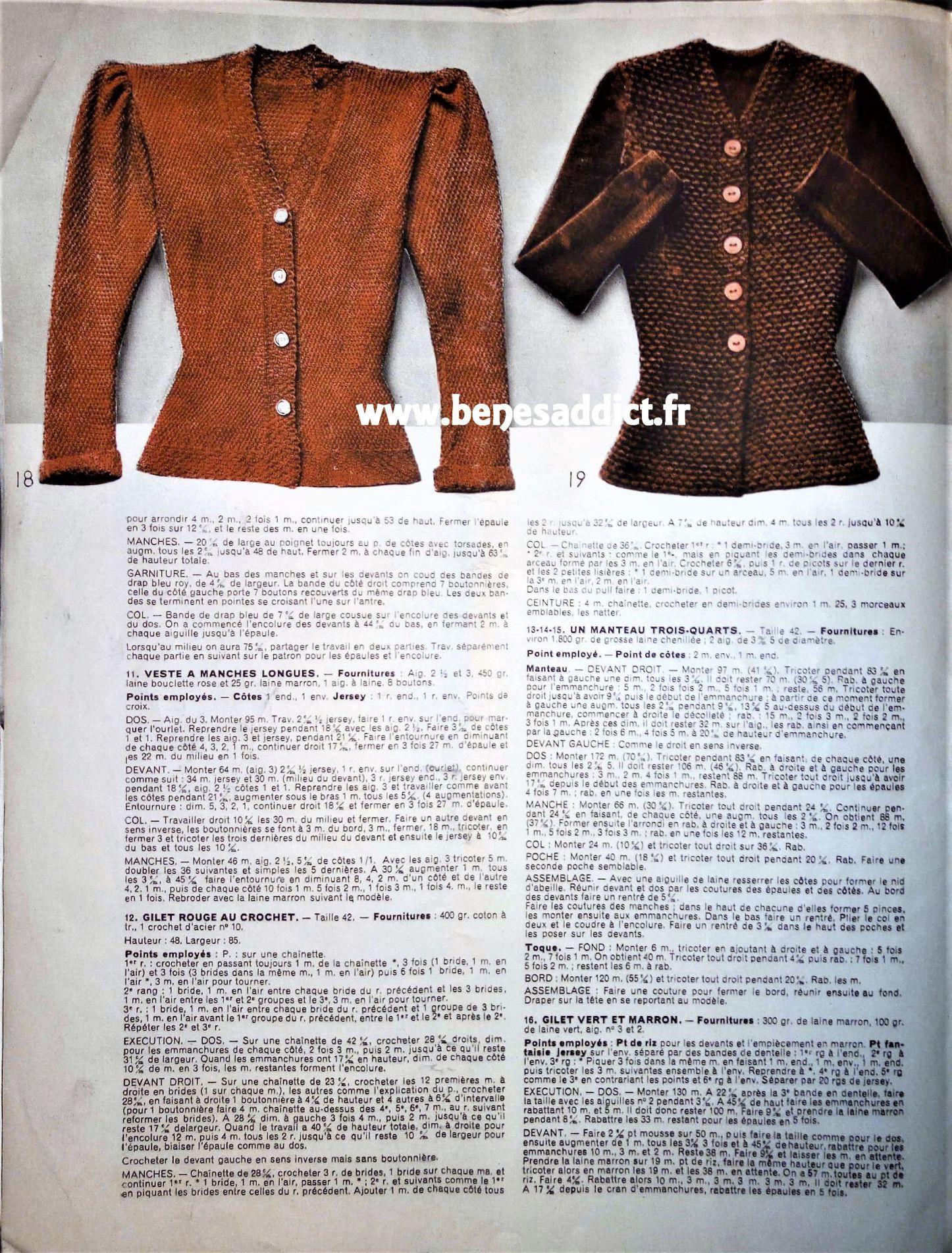GRATUIT 58 Patrons tricot, crochet / Vintage / FREE Knitting ...