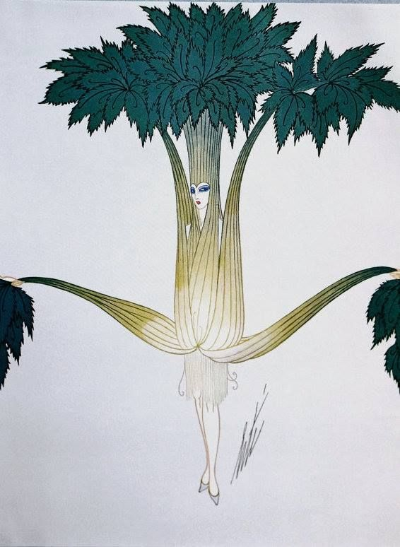 Vegetable costume designs created by Erté for George White's Scandals 1926.  Erté was born Romain de Tirtoff in St. Petersburg, Russia. 1892-1990.