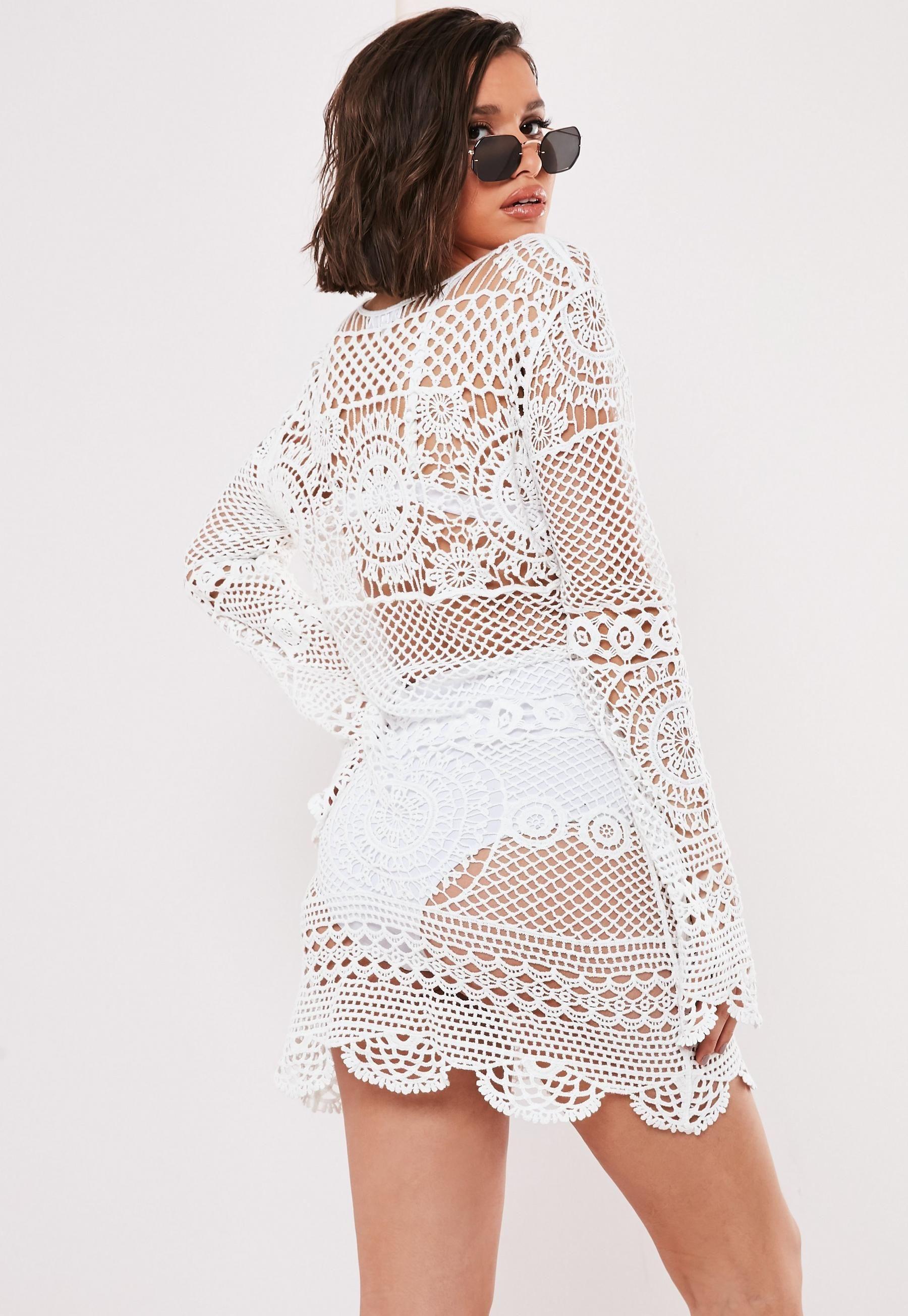 White Crochet Lace Up Mini Dress Missguided Mini Dress Long Sleeve Crochet Dress White Crochet