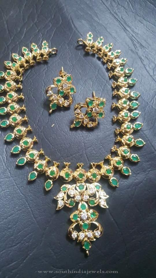 green stone and product cz for necklace fashionable jewellery studded set chaahat fashion women