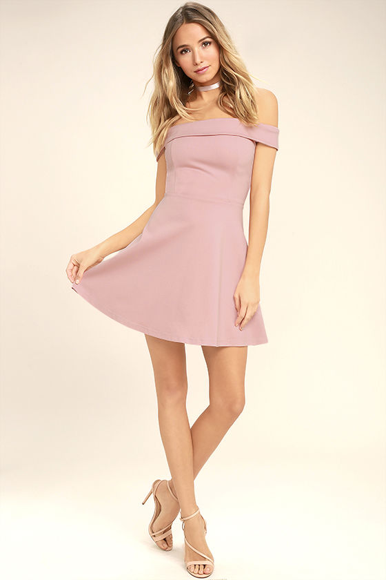 37e8cf0e49e3 The Season of Fun Blush Pink Off-the-Shoulder Skater Dress is always the  perfect pick-me-up! Medium-weight stretch knit shapes an off-the-shoulder  neckline ...