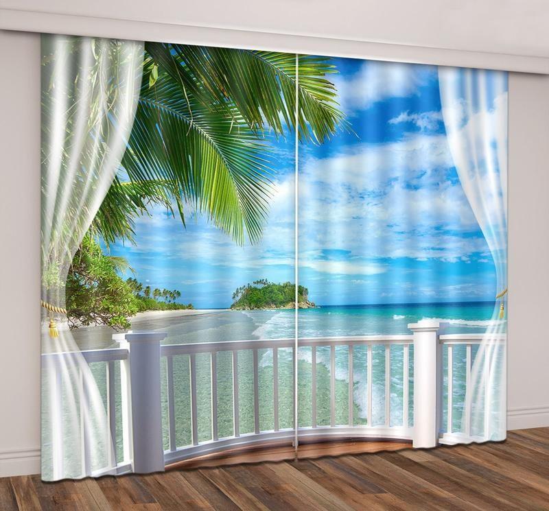 3d Seaside Beach Blue Sky White Cloud Printed Curtain Curtains