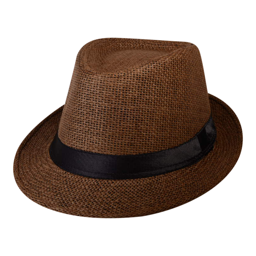 Brown Straw Fedora Gangster Hat With Black Band Straw Fedora Fedora Straw