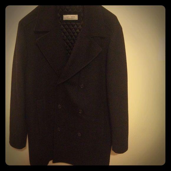 Black wool men's pea coat. Size Large Men's pea coat in black. Wool fabric. Size large. Joseph Abboud Jackets & Coats Pea Coats