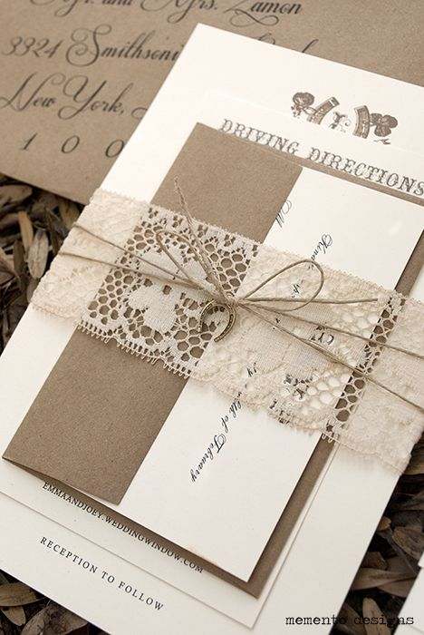 Vintage lace and twine wedding invitation with horseshoe pendant by