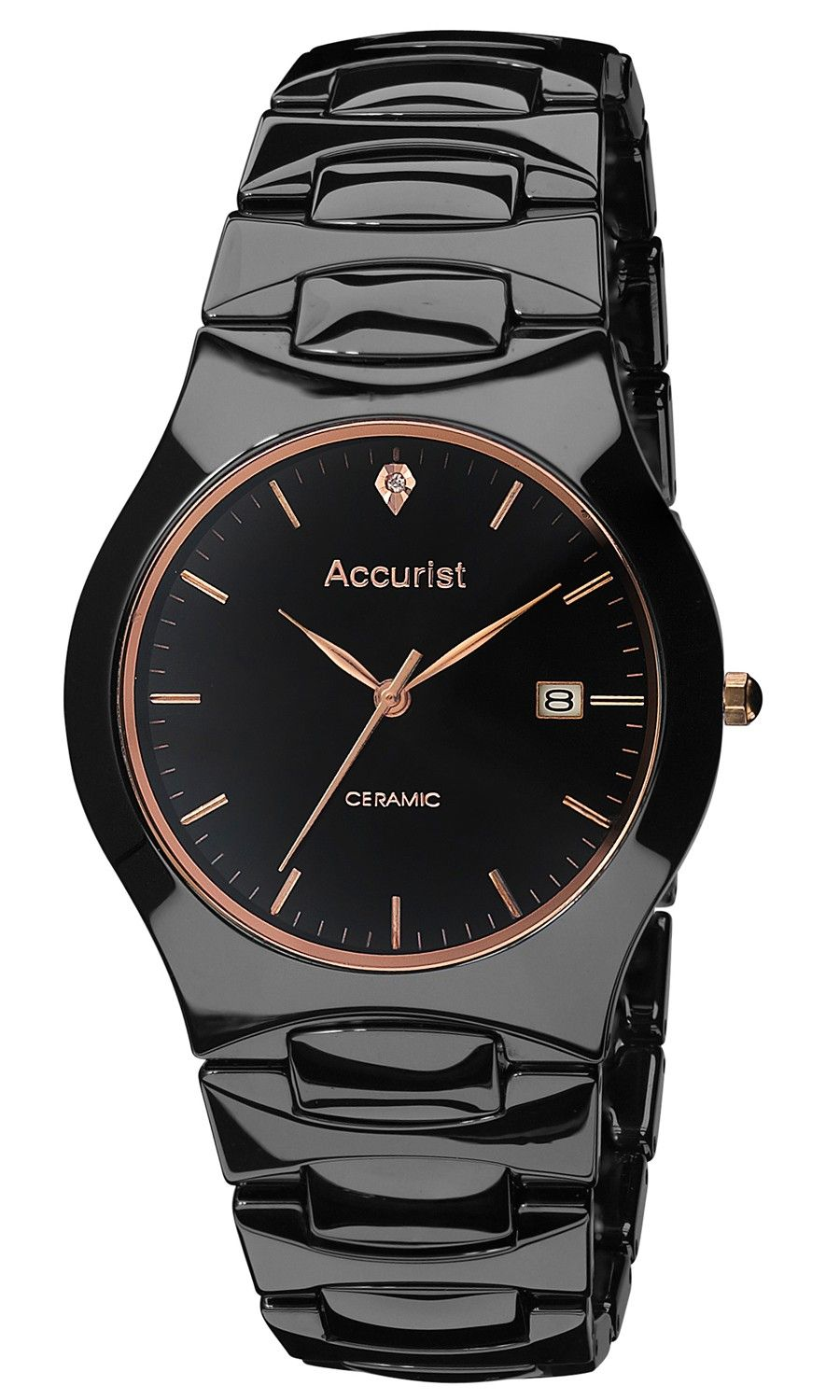 8a6f5be3e Mens Ceramic Bracelet Watch (MB992R) Full black ceramic case and bracelet  watch featuring rose gold tone hands and indexes,a genuine diamond at  12'oclock on ...
