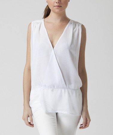 Love this White Blouson Surplice Top by FATE on #zulily! #zulilyfinds