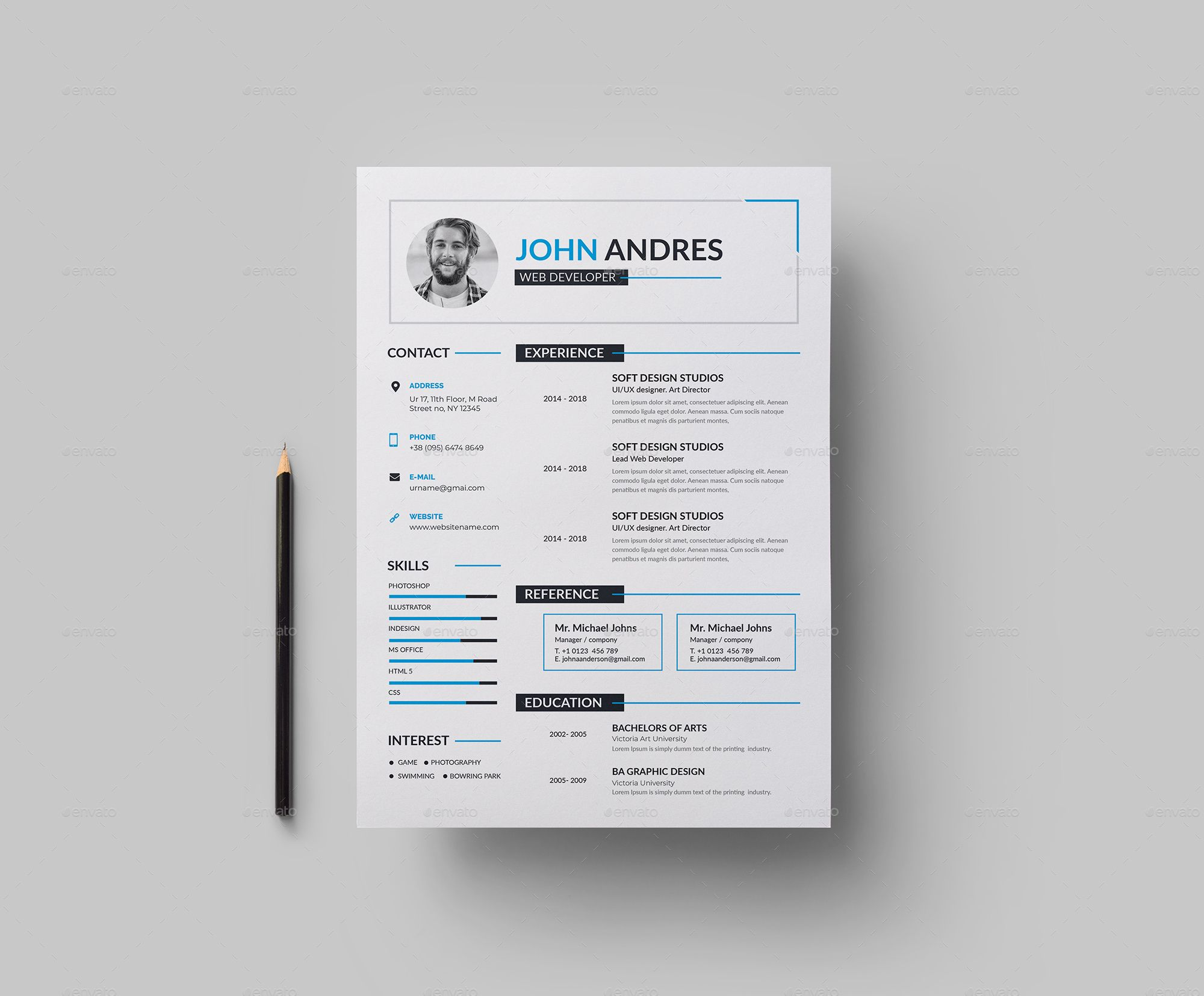 Features of Resume Template Color Versions A4 Paper Size