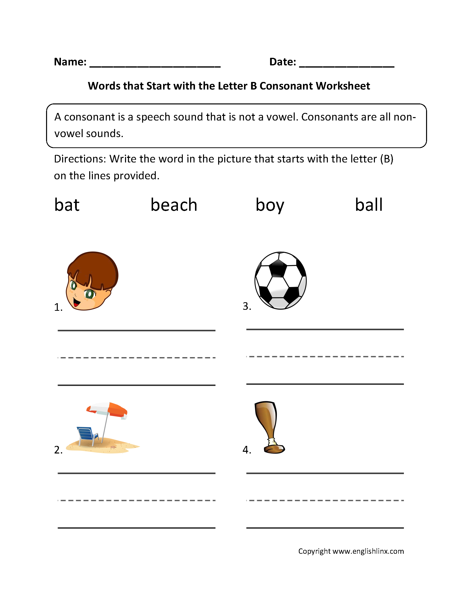 Words Start Letter B Consonant Worksheets