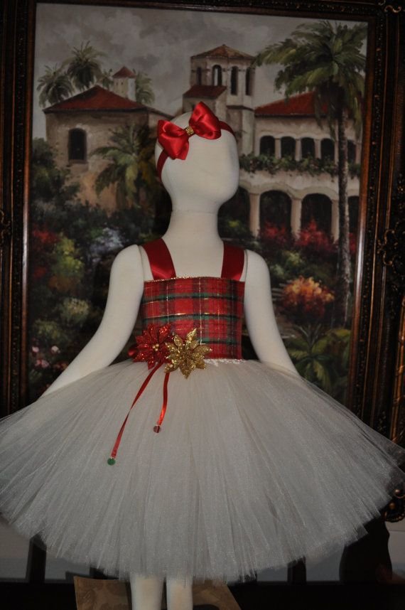 9de684a2fd6b You will love this Beautiful Holiday Ivory and Plaid Tutu Dress. The dress  is made