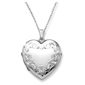 """Sterling Silver Engraved 4-Picture Heart Locket, 20"""", (heart locket, locket, locket necklace, lockets, gifts for girls, flower girl, heart jewelry, necklace, pendants, silver jewelry)"""