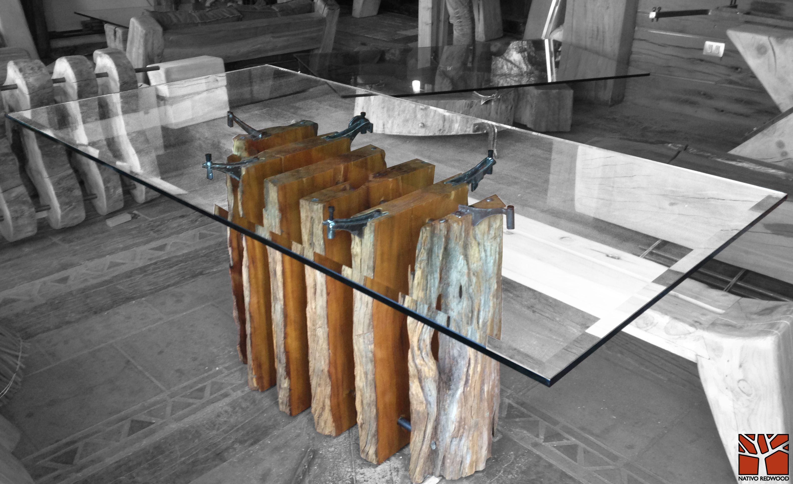 Nativo redwood mesa comedor con base de tronco de madera for Mesa de tronco