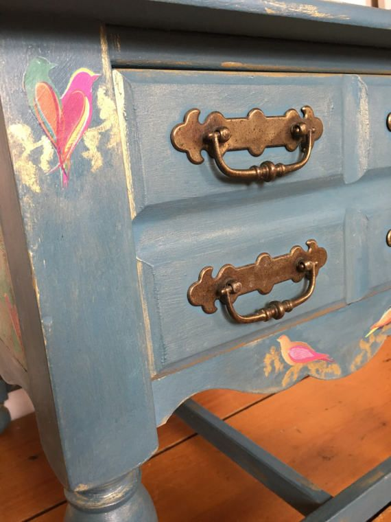 Vintage painted console / coffee table lamp table decoupaged