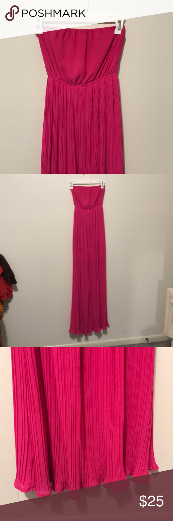 Hot Pink Fuschia Pleated Maxi Dress Stunning Vibrant Color Only Worn Once For A Summer Wedding Inside Line Pleated Maxi Dress Maxi Dress Ya Los Angeles Dress [ 1740 x 580 Pixel ]