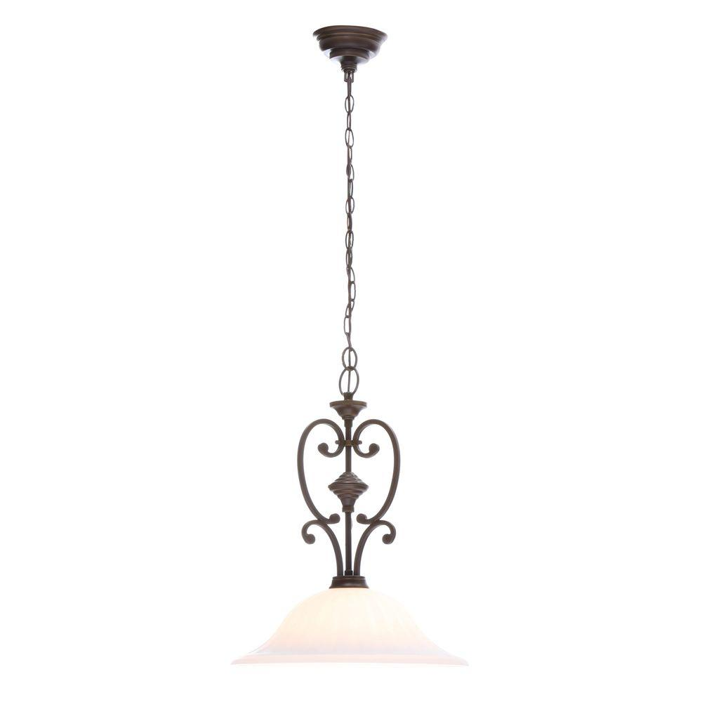 Hampton Bay Somerset Collection 1 Light Bronze Pendant With Bell