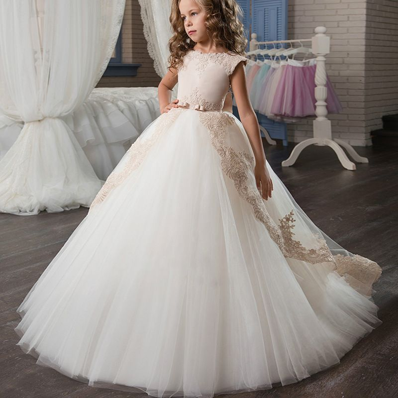 Stunning Sleeveless Holy Communion Dresses Cream Kids Floor Length Ruffles  Lace Satin Tulle Ball Gowns Girls Birthday Dress 0-12. 87936349d057