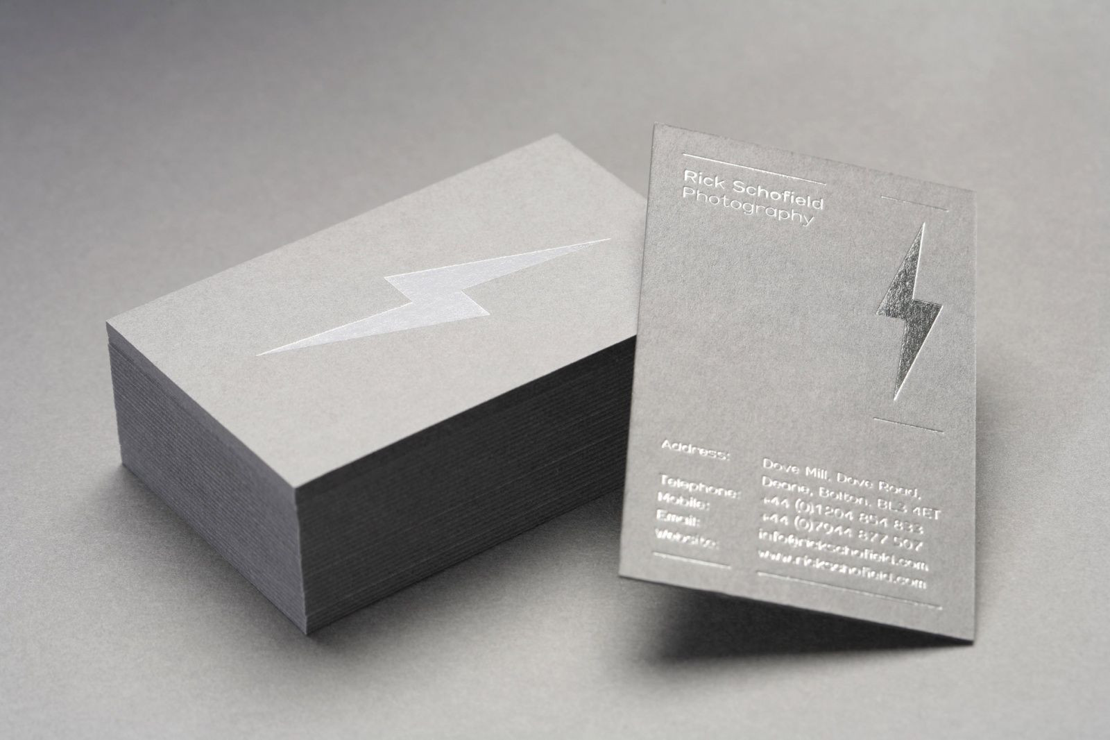 Business Cards With A Grey Board A Silver Foil Print Finish For Rick Schofield Designed By Very Foil Business Cards Business Card Branding Business Card Design