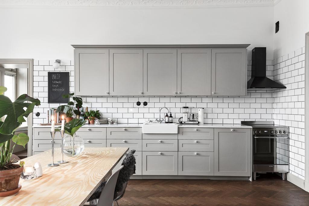 Grey Kitchen And Dark Herringbone Floors Kitchens Grey Kitchens