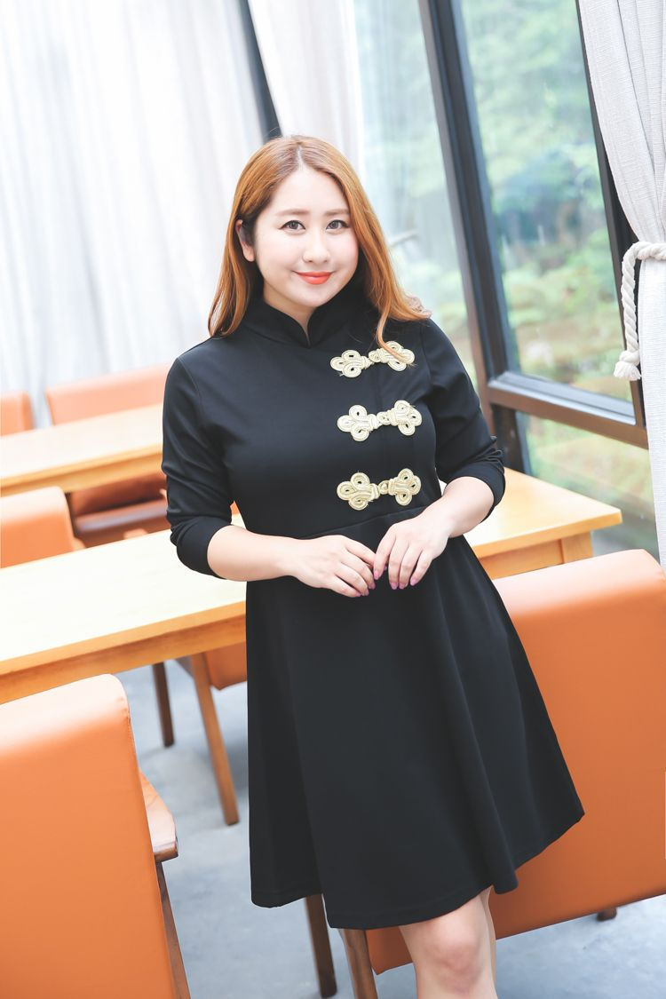 495b8d1dff Chinese Style Qipao Dress Plus Size Women Dresses 3XL 4XL Cute Autumn Dress  Long Sleeve Stand Collar Oversize Dress