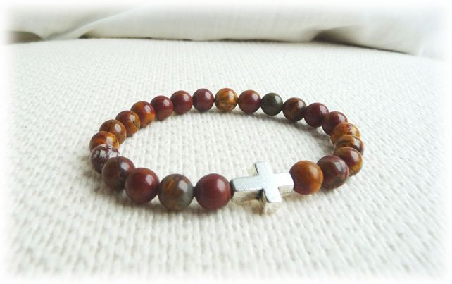 Picasso Jasper and Cross bead bracelet  for man - Mens Jewelry £16.45