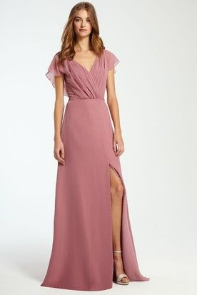 cf26bbe053 V-Neck Ruched Sleeveless Chiffon Bridesmaid Dress With Split Front ...