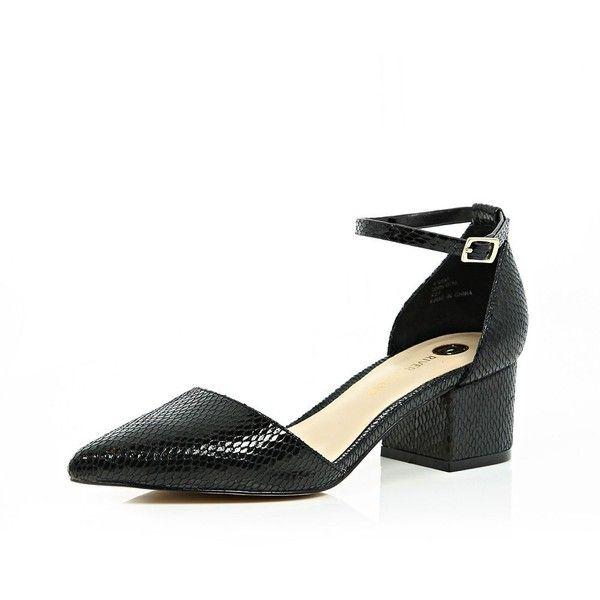 Black block heel pointed shoes | Heels