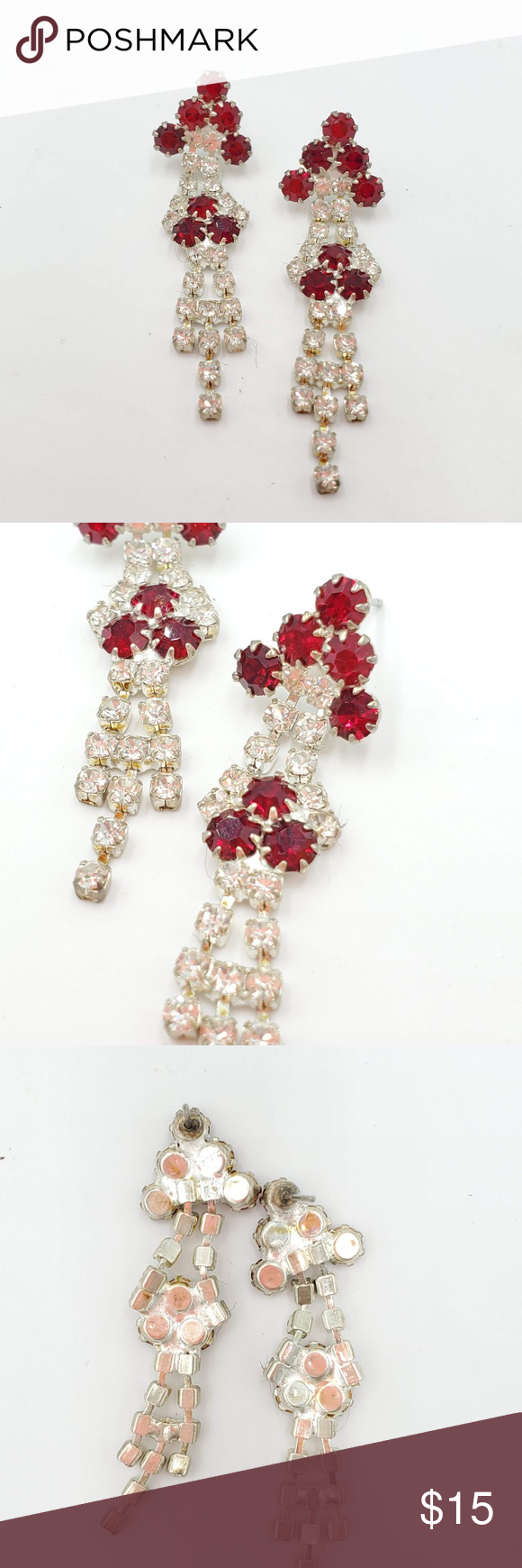 Vintage rhinestone red and white dressy earrings. Dressy