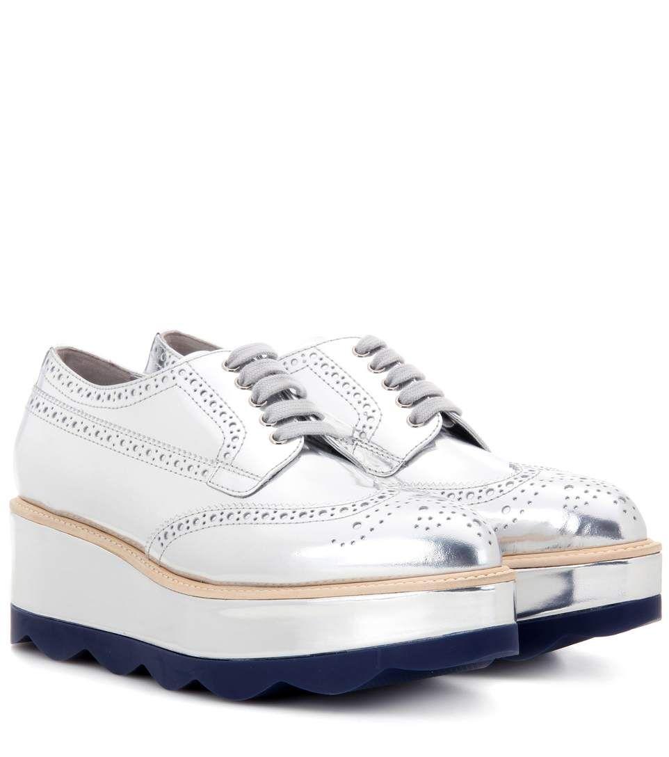 86ed2a0c969 PRADA Metallic leather platform brogues.  prada  shoes  flats ...