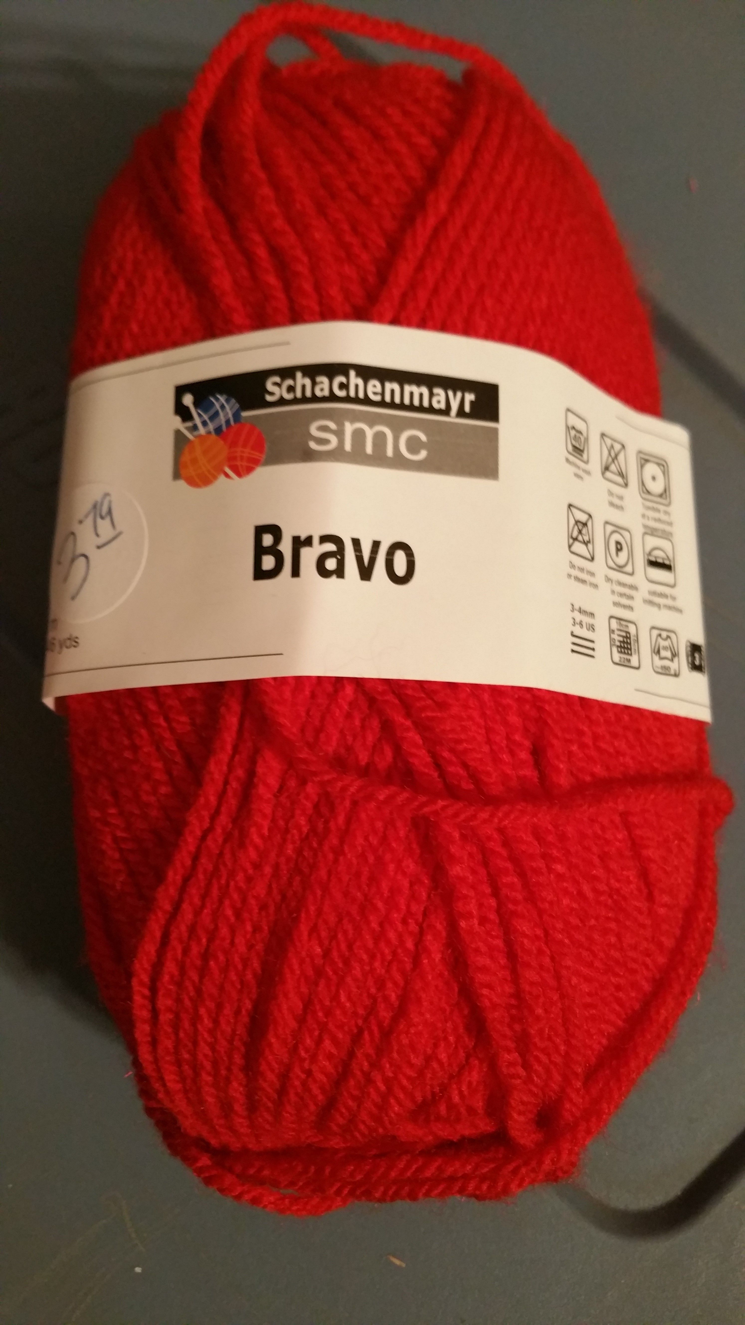 SMC - Schachenmayr - BRAVO color 8221 red - $2.00 per ball plus postage. (10 available). 100% acrylic, machine wash and tumble dry. D/L 304401.