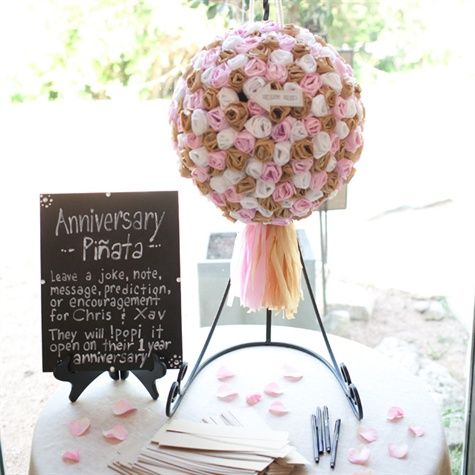 Guestbook Pinata That The Newly Weds Can Open On Their First Anniversary Fun Wedding Wedding Pinata Wedding Day