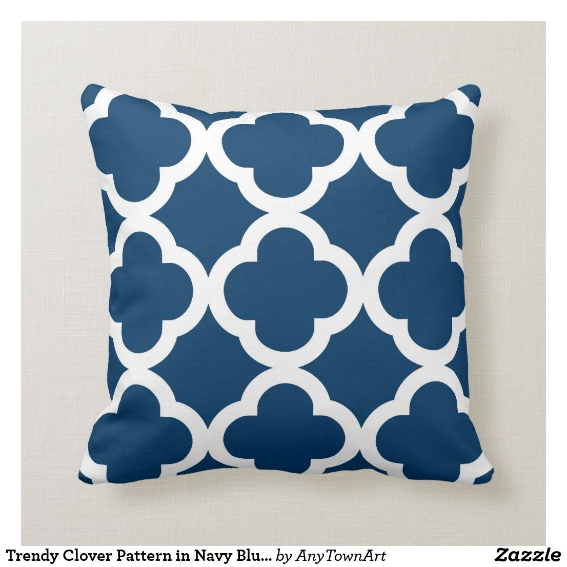 Trendy Clover Pattern In Navy Blue And White Throw Pillow Zazzle