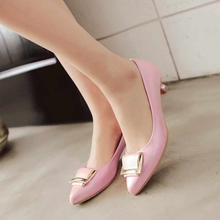 Pointed Toe Square Buckle Women Pumps Low Thin Heels Shoes 3152