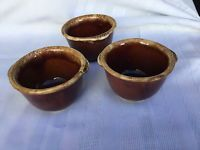 3 Hull Pottery Brown Drip Custard Cups 6 Oz