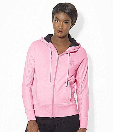 Lauren Ralph Lauren LongSleeve FullZip Hooded Stretch Fleece Track Jacket #Dillards
