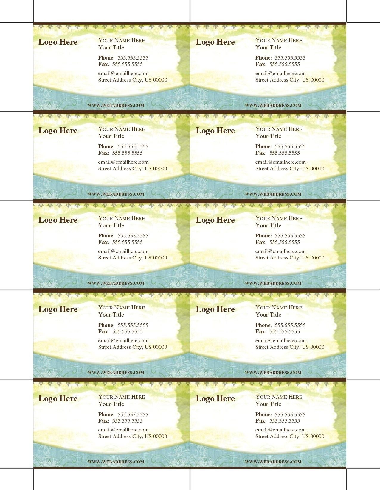 Free Business Cards To Print Out At Home Template Design