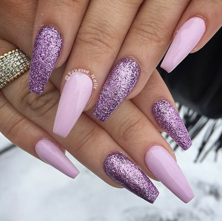 Pink And Lilac Nails Ballerina Acrylic Gel
