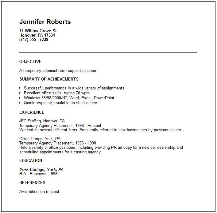 Examples Of A Short Resumes Temporary Placement Agency