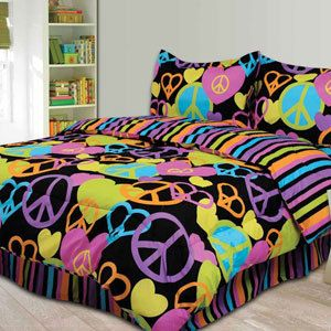 black peace sign full size comforter teen girl bedding set new in package redecorating my. Black Bedroom Furniture Sets. Home Design Ideas