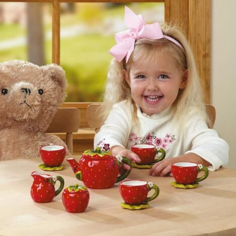What a Perfect Day for a little girl.. having a Tea Party with her Teddy! ( I remember doing the same when I was little)