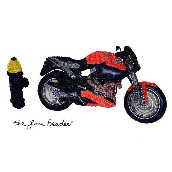 Beaded Motorcycle Art Soft Sculpture Replica w/ Fire Hydrant - Biker Gift for Him,  Beaded Motorcycle Art Soft Sculpture Replica w/ Fire Hydrant - Biker Gift for Him,