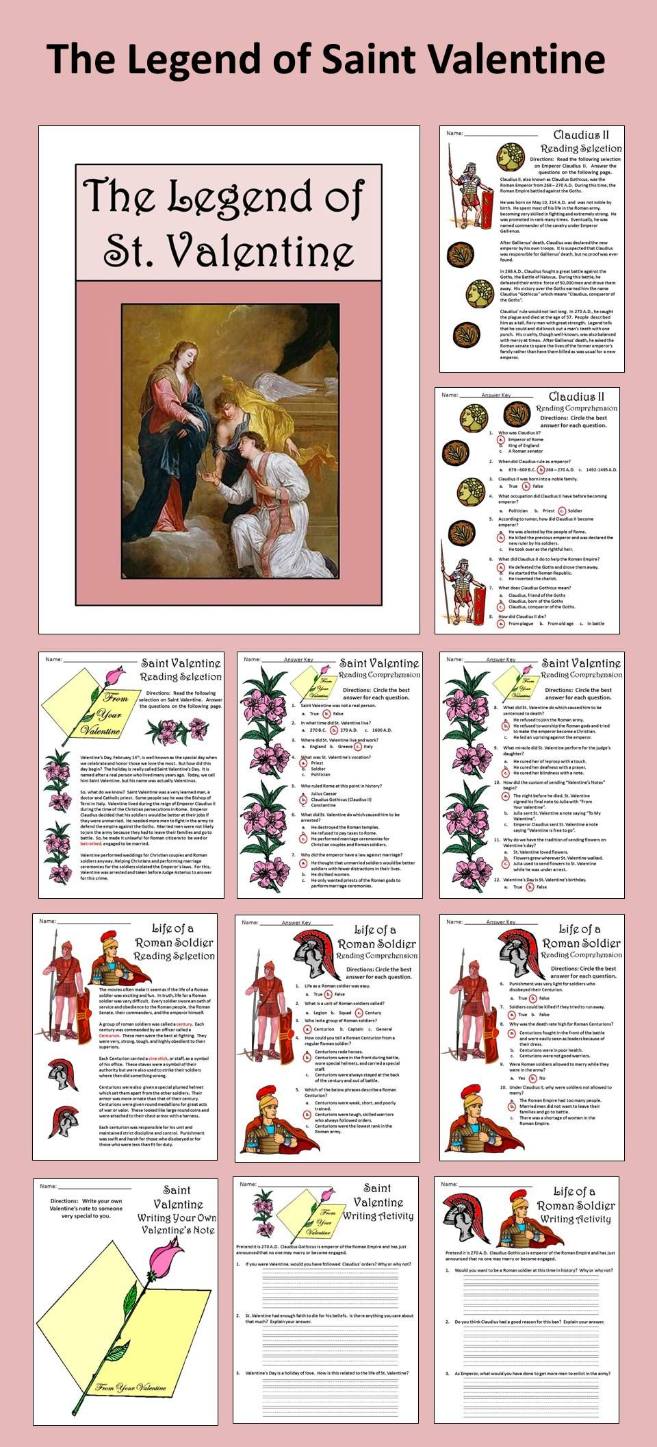 Legend Of St. Valentine Activity Packet: The Story Of The Roman Catholic  Priest,