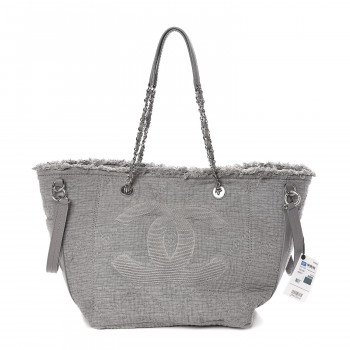 Chanel Canvas Small Double Face Tote Gray Chanel Canvas Luxury