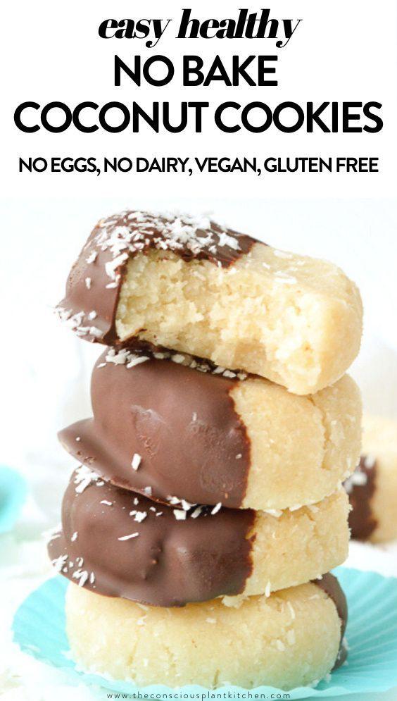 No Bake Coconut Cookies Easy Healthy In 2020 No Bake Coconut Cookies Vegan Cookies Vegan Recipes Easy