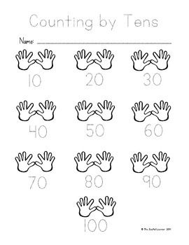 "These are writing and tracing worksheets with ""hand"" graphics to help illustrate the concept of counting by tens, fives, and twos. I hope you find them helpful!"
