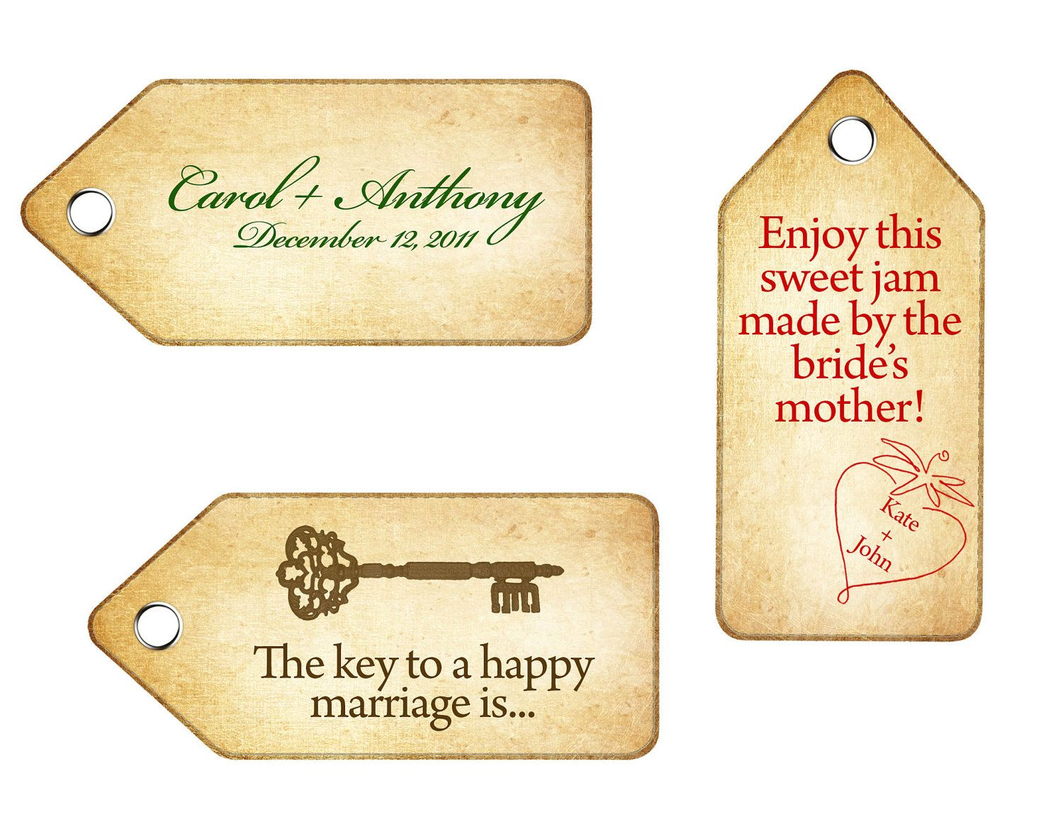 Custom Printable DIY Wedding Tag Downloads - use for favors, thank ...